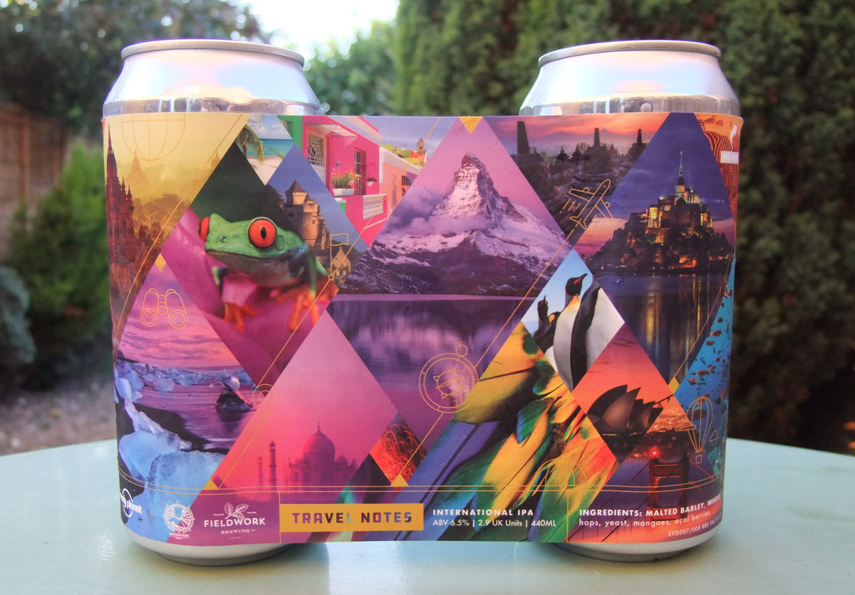 Photograph of the can of Travel Notes, an International IPA