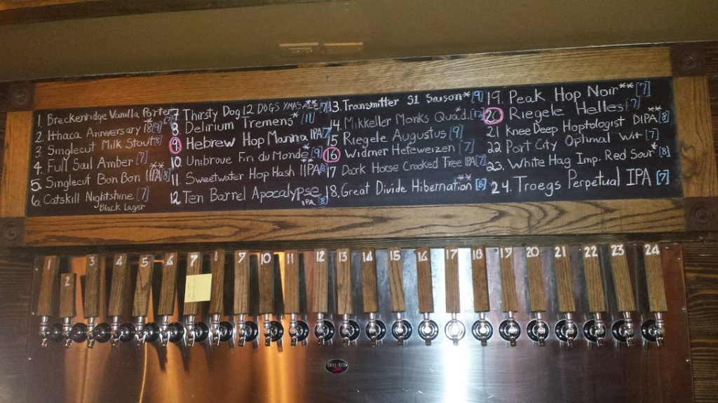 Arts and Crafts Beer Parlor Beer List