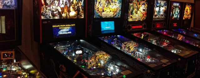Photograph of pinball machines in Tilt