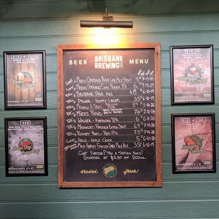 Brisbane Brewing Co menu
