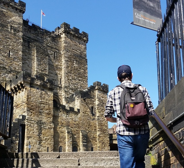 Dave walking near Newcastle castle