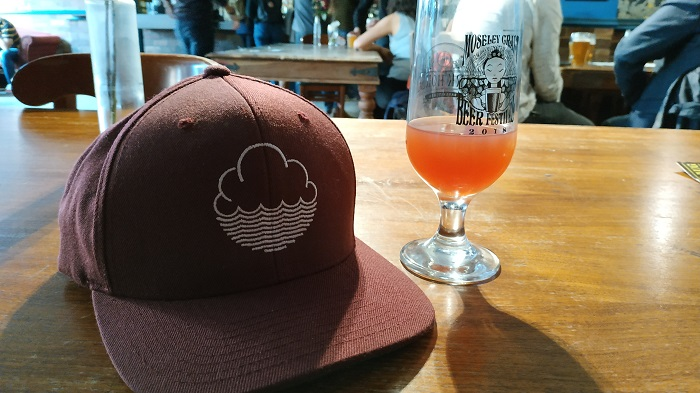 Cloudwater hat with beer